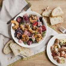 grilled-gulf-shrimp-salad-with-greens-strawberries-and-watermelon-pickled-shrimp-and-egg-salad-min